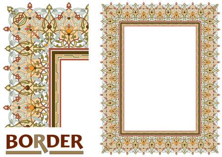 Arabesque Borders - Gekachelter Rahmen aus Pflanzenblättern und Blumen Rahmen Dekorativ Eleganter Ornamentstil