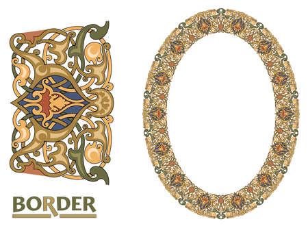 arabesque Borders - Tiled frame in plant leaves and flowers Framework Decorative Elegant ornamental style