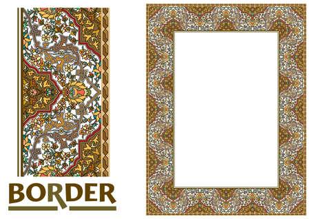 Arabesque Borders - Gekachelter Rahmen aus Pflanzenblättern und Blumen Rahmen Dekorativ Eleganter Ornamentstil Vektorgrafik