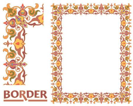 Dekoration Bordüren - Gekachelter Rahmen aus Pflanzenblättern und Blumen Rahmen Dekorativ Eleganter Ornamentstil Vektorgrafik