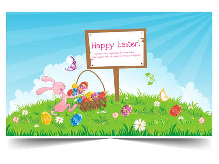 Happy holiday Easter day card vintage egg with flowers vector illustration graphic design Foto de archivo - 134429643