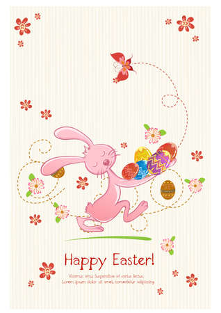Happy holiday Easter day card vintage egg with flowers vector illustration graphic design Foto de archivo - 134429644
