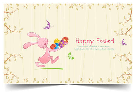 Happy holiday Easter day card vintage egg with flowers vector illustration graphic design Foto de archivo - 134429645