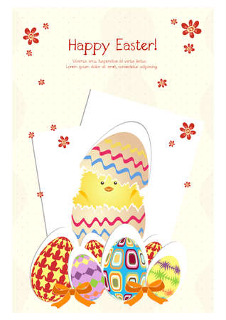 Happy holiday Easter day card vintage egg with flowers vector illustration graphic design