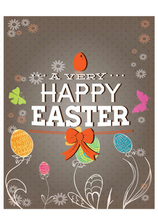Happy holiday Easter day card vintage egg with flowers vector illustration graphic design Foto de archivo - 134430678