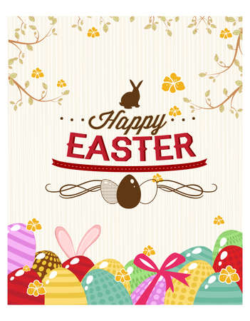 Happy holiday Easter day card vintage egg with flowers vector illustration graphic design Foto de archivo - 134430594