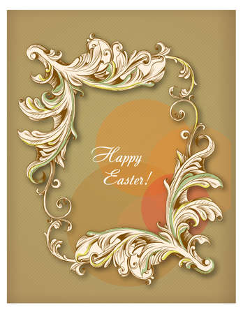 Happy holiday Easter day card vintage egg with flowers vector illustration graphic design Foto de archivo - 134430627