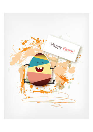 Happy holiday Easter day card vintage egg with flowers vector illustration graphic design Foto de archivo - 134430628