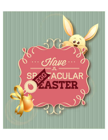 Happy holiday Easter day card vintage egg with flowers vector illustration graphic design Foto de archivo - 134430629