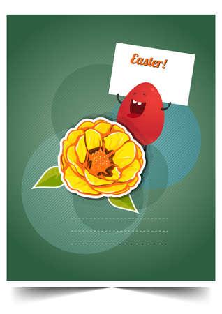 Happy holiday Easter day card vintage egg with flowers vector illustration graphic design Foto de archivo - 134430635