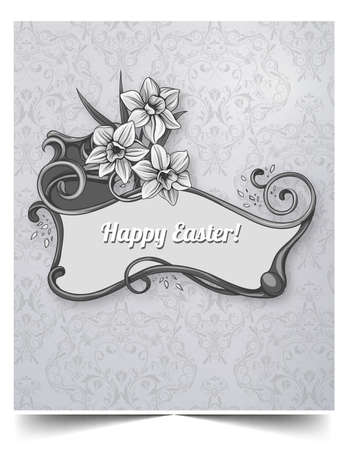 Happy holiday Easter day card vintage egg with flowers vector illustration graphic design Foto de archivo - 134430646