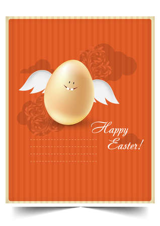 Happy holiday Easter day card vintage egg with flowers vector illustration graphic design Foto de archivo - 134430407