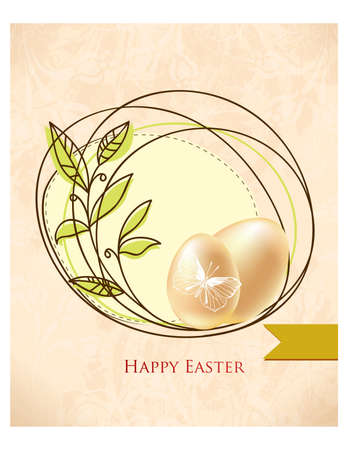 Happy holiday Easter day card vintage egg with flowers vector illustration graphic design Foto de archivo - 134430408