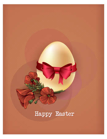 Happy holiday Easter day card vintage egg with flowers vector illustration graphic design Foto de archivo - 134430411