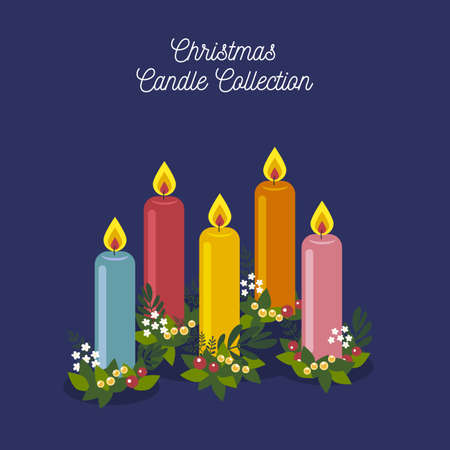 Colorful set of Merry Christmas Candles