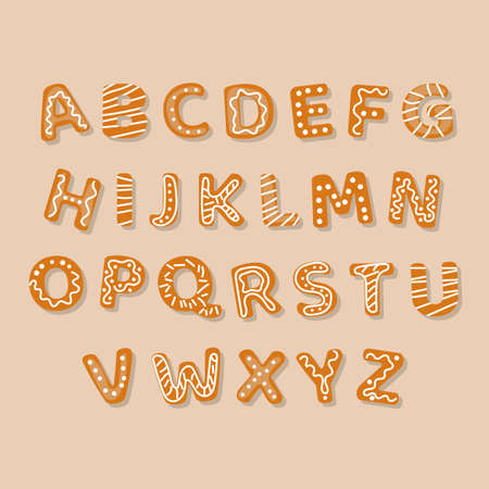 Merry Christmas Gingerbread decorated cookies alphabet vector illustration Collection
