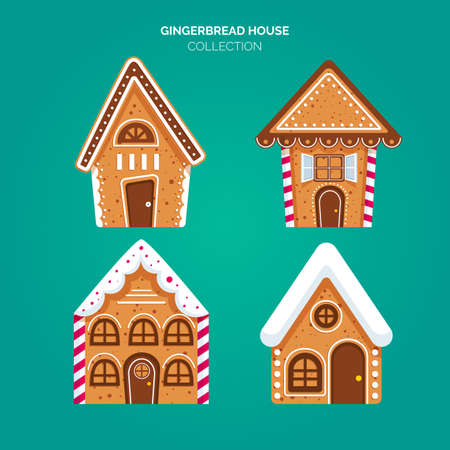 Merry Christmas gingerbread decorated cookies house collection  illustration Collection