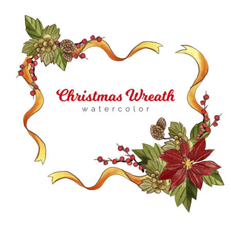 Vintage Merry Christmas Flowers and Wreath stock illustration Collection