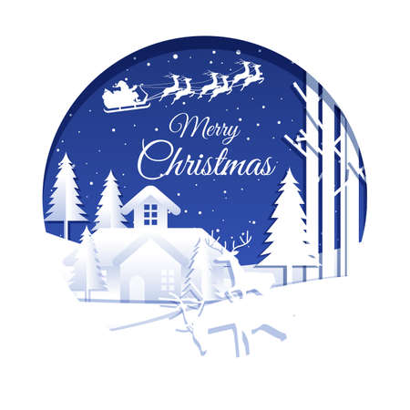 Merry Christmas background in Paper art style stock illustration Collection 일러스트