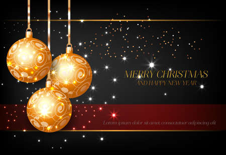 Merry Christmas with golden decorative balls. Inscription with three golden balls decoration on black background. Can be used for posters, banners, greetings