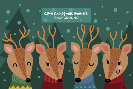 happy Merry christmas animals background illustration Collection style