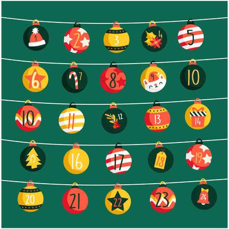 Happy Merry Christmas hand drawn festive Advent Calendar Vector stock illustration Ilustracja