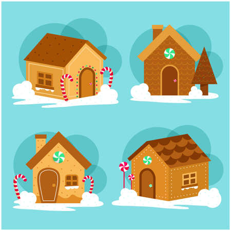 Merry Christmas gingerbread decorated cookies house collection vector illustration Collection 일러스트