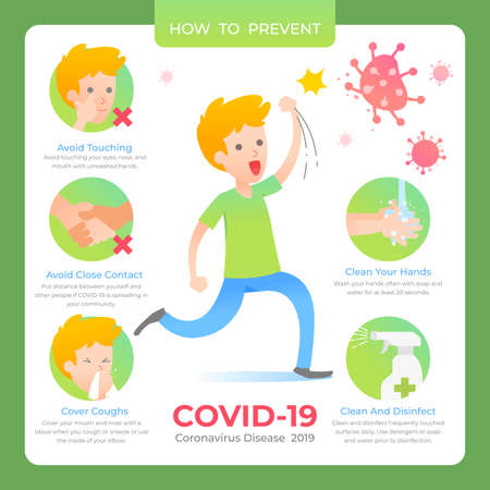 infographic with details about corona virus with illustrated design