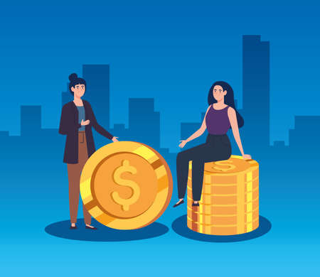 women with pile of coins vector illustration design