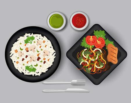 Food and gastronomy graphic design, vector illustration. Ilustração