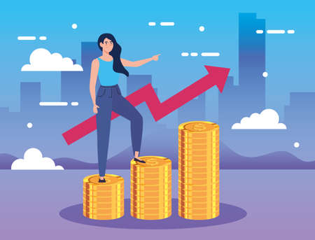 woman on piles of coins with arrow up infographic vector illustration design