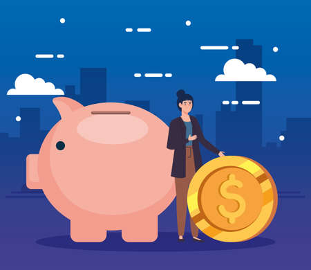 woman with piggy bank and coin vector illustration design Ilustração