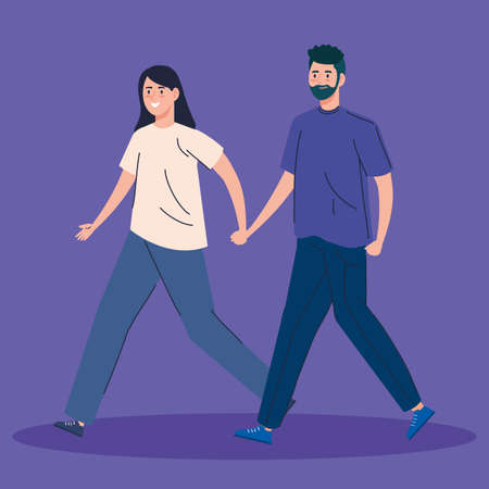 young couple walking avatar character vector illustration design