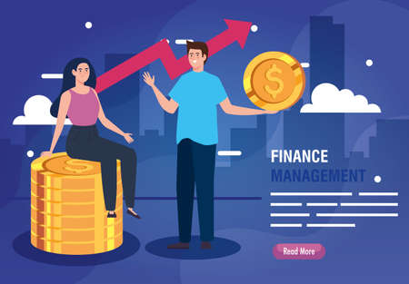 couple and pile of coins with arrow up infographic vector illustration design