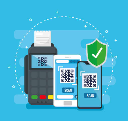 qr code inside smartphones dataphone and shield design of technology scan information business price communication barcode digital and data theme Vector illustration