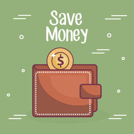 wallet money save icon vector illustration design