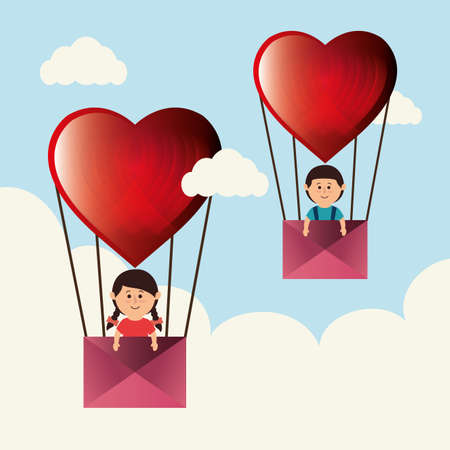 Love and valentines day graphic design, vector illustration Illustration