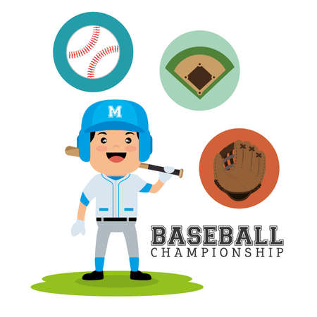 baseball championship concept player bat ball glove and field design vector illustration eps 10 일러스트