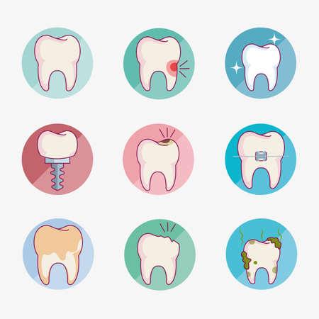 dental care set icons vector illustration design Vettoriali