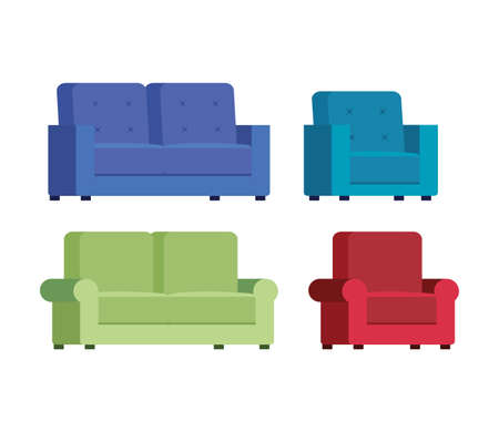 set of couches comfortable icons vector illustration design