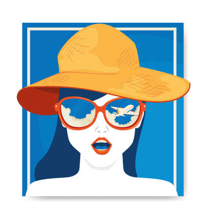 travel poster and face of woman with hat summer female vector illustration design Ilustracja