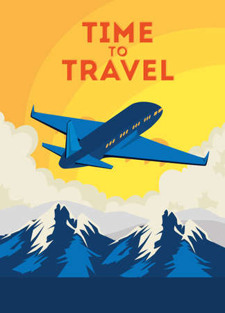 travel poster with airplane flying vector illustration design Ilustracja
