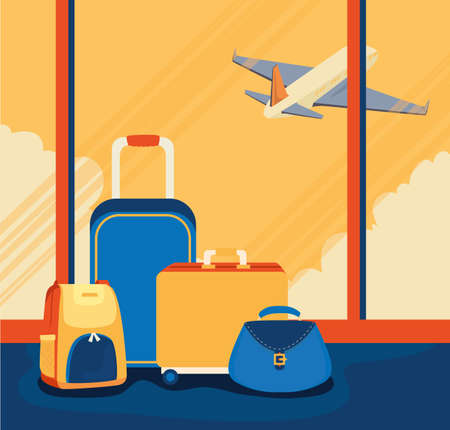 travel poster with luggage and airplane vector illustration design