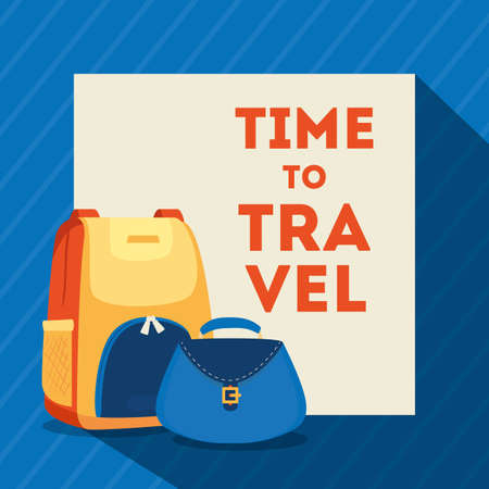 travel poster with bagpack and bag female vector illustration design