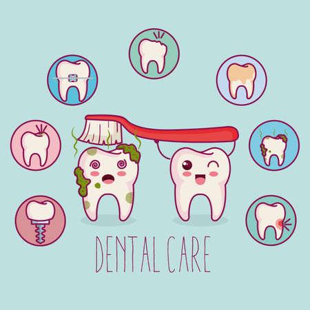 dental care kawaii comi character vector illustration design Çizim