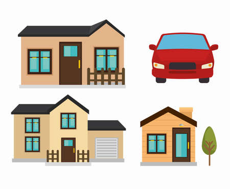 beautiful mansion and car  isolated icon design, vector illustration  graphic
