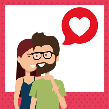 lovers couple with speech bubble and heart vector illustration design