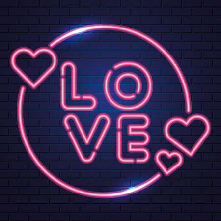 Hearts and Love label over blue background, neon vector illustration Vettoriali