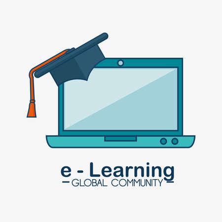 e-learning global community concept vector illustration design Çizim