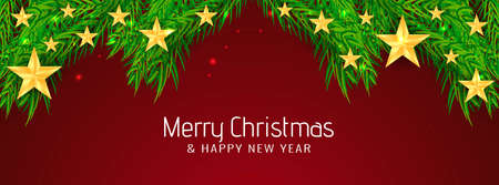 Beautiful Merry Christmas poster design vector